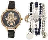 jessica carlyle ST1782G350 Gold-Tone & Black Watch & Bracelet Set