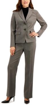 Le Suit Herringbone-Pattern Pants Suit