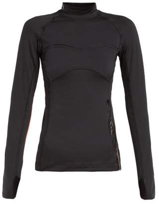 adidas by Stella McCartney Run Logo-print Stretch-jersey Top - Womens - Black Pink