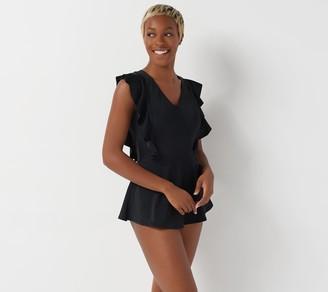 Denim & Co. Beach Wrap Front Swim Dress with Ruffle Detail