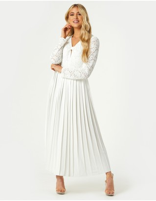 Little Mistress Fable White Lace Pleated Midaxi Dress