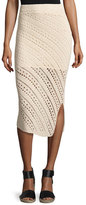 Altuzarra Miller Crochet Side-Slit Pencil Skirt, Cream