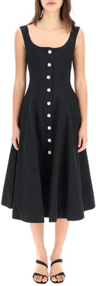STAUD Buttoned Flared Midi Dress