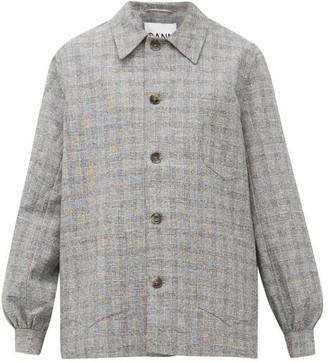 Ganni Blouson-sleeve Checked Shirt Jacket - Womens - Grey