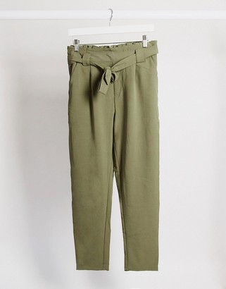 JDY dakota paperbag waist trousers in green
