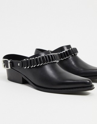 AllSaints ryder leather western mules in black