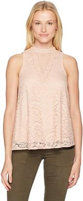 Taylor & Sage Women's Swiss Dot Mesh Lace Hi Neck Tank Top