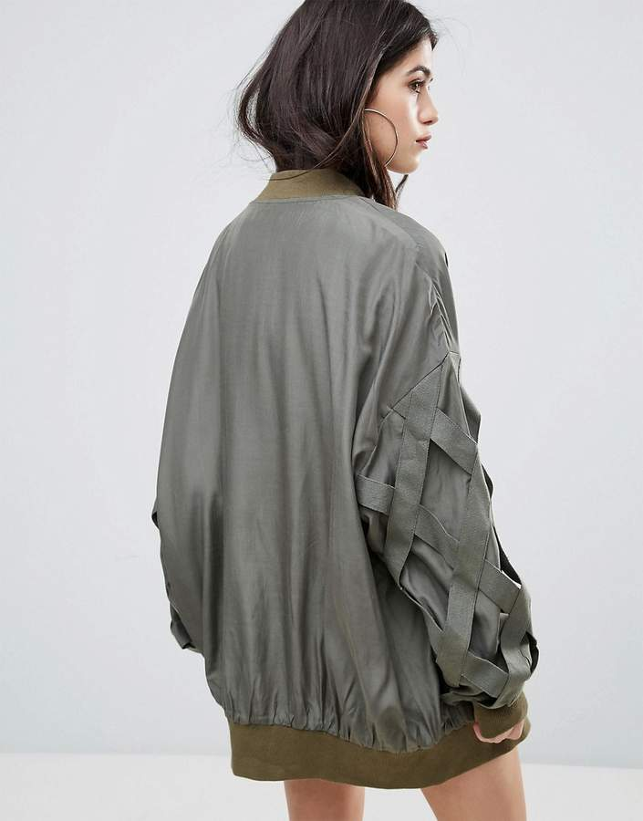 Missguided Khaki Bandage Detail Bomber Jacket