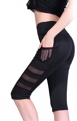 FITTOO Women's 3/4 Athletic Capris Mesh PatchworkTight Fitness Running Workout Leggings