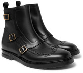 Alexander McQueen Leather Monk-strap Wingtip Commando Boots - Black