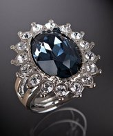 sapphire and clear rhinestone oval ring
