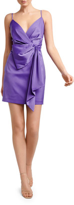 Ever New Lindsey Sleeveless Mock-Wrap Drape-Front Satin Dress