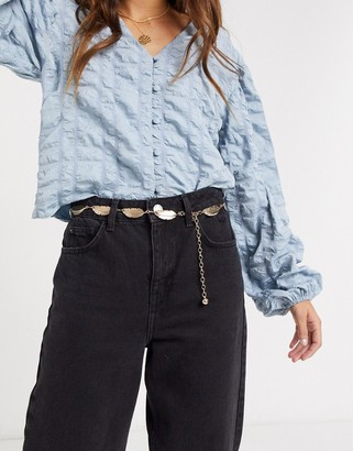 ASOS DESIGN chain feather waist and hip belt in gold