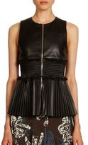Cédric Charlier Smocked Leather Top