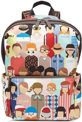 Fendi Kids People Print Backpack
