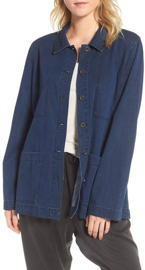 Eileen Fisher Soft Cotton Blend Denim Jacket