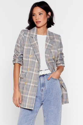 Nasty Gal Womens Business Babe Check Relaxed Blazer - Stone