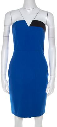 Mason Cobalt Blue Contrast Panel Detail Strapless Pencil Dress XS