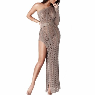 Raylans Women's Sexy One Shoulder Hollow Out Knitted See Through High Slit Dress Beach Bikini Cover up