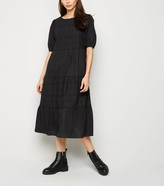 New Look Broderie Puff Sleeve Midi Dress
