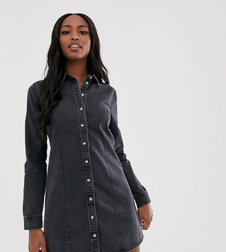 Asos DESIGN Tall denim fitted western shirt dress in washed black
