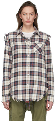 R 13 Off-White Plaid Shredded Seam Shirt