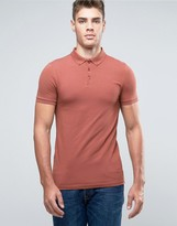 Asos Extreme Muscle Polo Shirt In Red With Button Down Collar