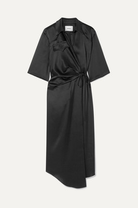 Nanushka Satin Wrap Dress - Black