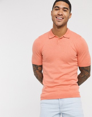 ASOS DESIGN knitted muscle fit polo neck t-shirt in salmon