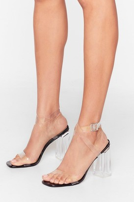 Nasty Gal Womens In the Clear Faux Leather Lucite Block Heels - Black
