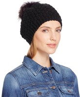 Echo Beret with Asiatic Raccoon Fur Pom-Pom