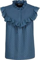 Rachel Zoe Hera Ruffled Smocked Swiss-Dot Cotton Top