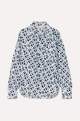 Marni Frayed Printed Silk-twill Shirt - Blue