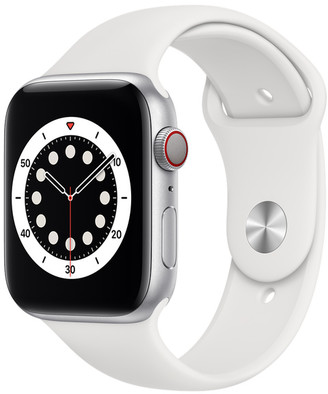 Apple Watch Series 6 GPS + Cellular, 44mm Silver Aluminum Case with White Sport Band - Regular