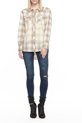 Aratta Rough Rider Plaid Floral Embroidered Blouse