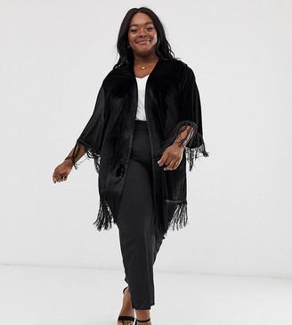 ELVI velvet fringe tassle kimono-Black