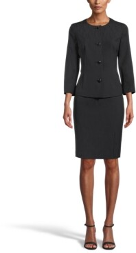 Le Suit Crepe Notched-Collar Button-Front Skirt Suit