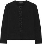 Fendi Crystal-embellished Floral-appliquéd Stretch-cloqué Jacket - Black