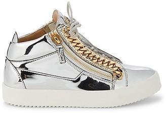 Giuseppe Zanotti Metallic Chain Patent Leather Mid-Top Sneakers