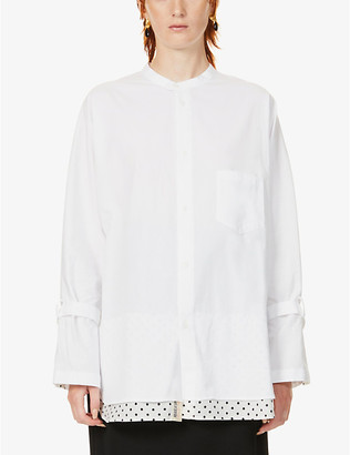 Y's Polka-dot underlay relaxed-fit cotton shirt
