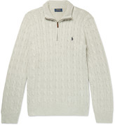 Polo Ralph Lauren - Cable-knit Silk Half-zip Sweater
