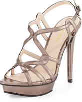 Pelle Moda Flirty Strappy Leather Sandal, Pewter