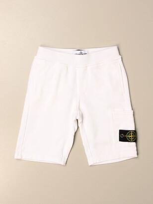 Stone Island Junior Jogging Bermuda Shorts In Cotton