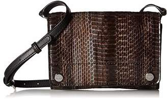Calvin Klein womens Flap Patent Python Studded Flap Over Small Crossbody