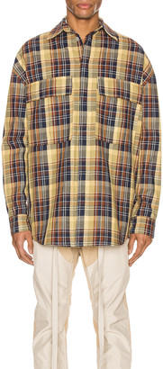 Fear Of God Long Sleeve Plaid Button Up in Yellow & Navy | FWRD