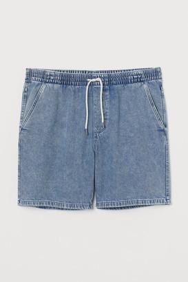 H&M Elasticized Denim Shorts - Gray