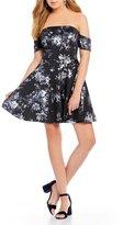 GB Foil Flower Off-the-Shoulder Swing Dress