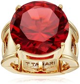 T Tahari Gold Round Siam Ring, Size 7-9
