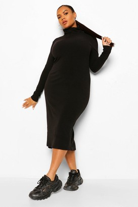 boohoo Plus Soft Rib Roll Neck Midi Dress