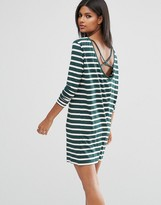 Asos Cowl Neck Dress in Stripe with Strap Back Detail
